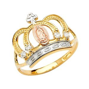 14K Gold Religious Cross Crown CZ Ring